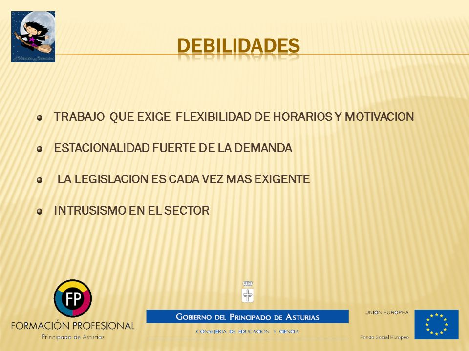 DEBILIDADES TRABAJO QUE EXIGE FLEXIBILIDAD DE HORARIOS Y MOTIVACION