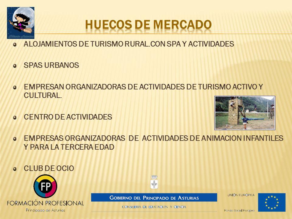 HUECOS DE MERCADO ALOJAMIENTOS DE TURISMO RURAL.CON SPA Y ACTIVIDADES