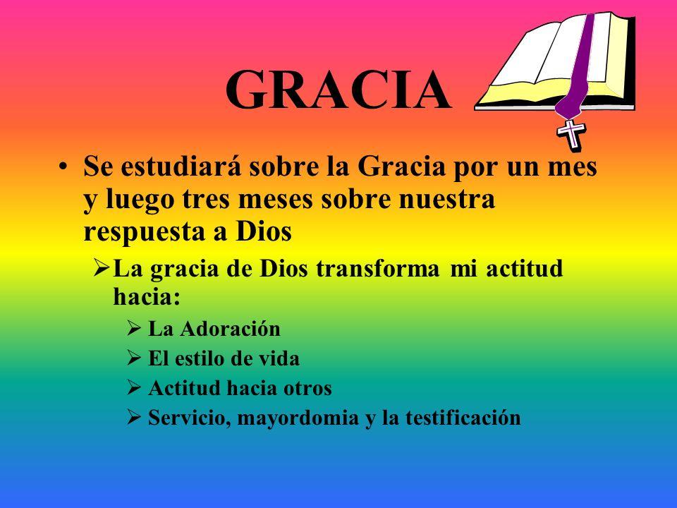 GRACIA Se estudiará sobre la Gracia por un mes y luego tres meses sobre nuestra respuesta a Dios. La gracia de Dios transforma mi actitud hacia:
