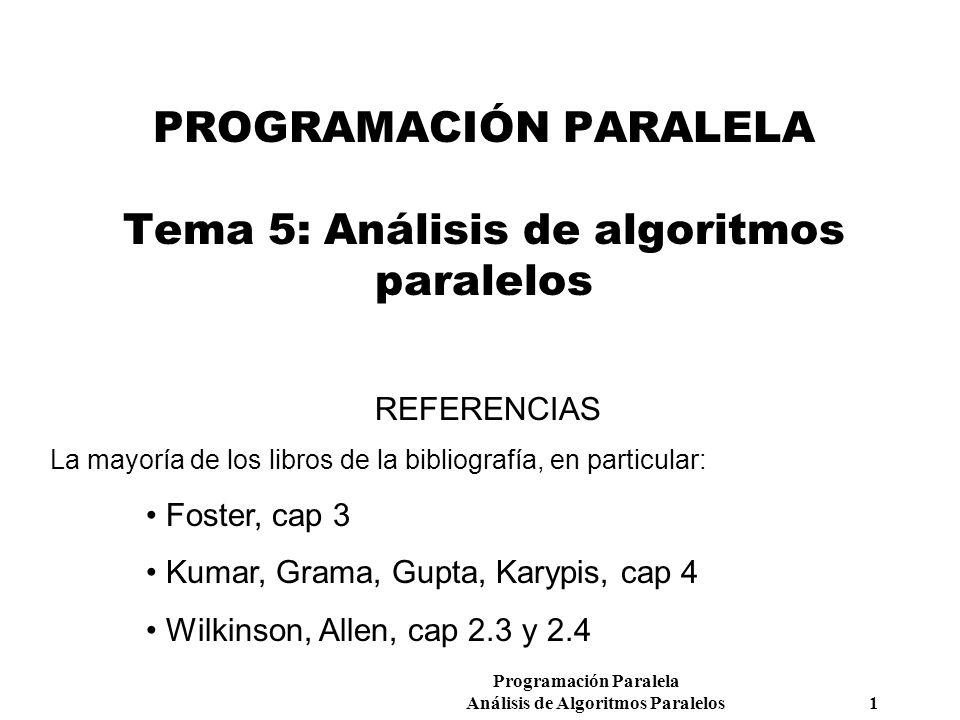PROGRAMACIÓN PARALELA Tema 5: Análisis de algoritmos paralelos