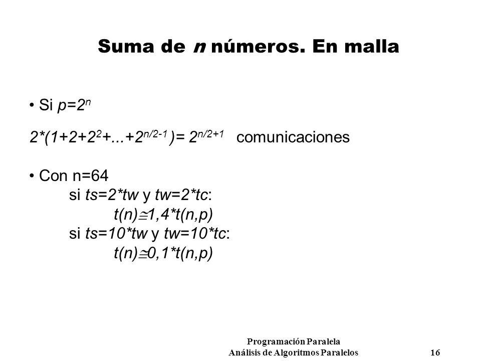 Suma de n números. En malla