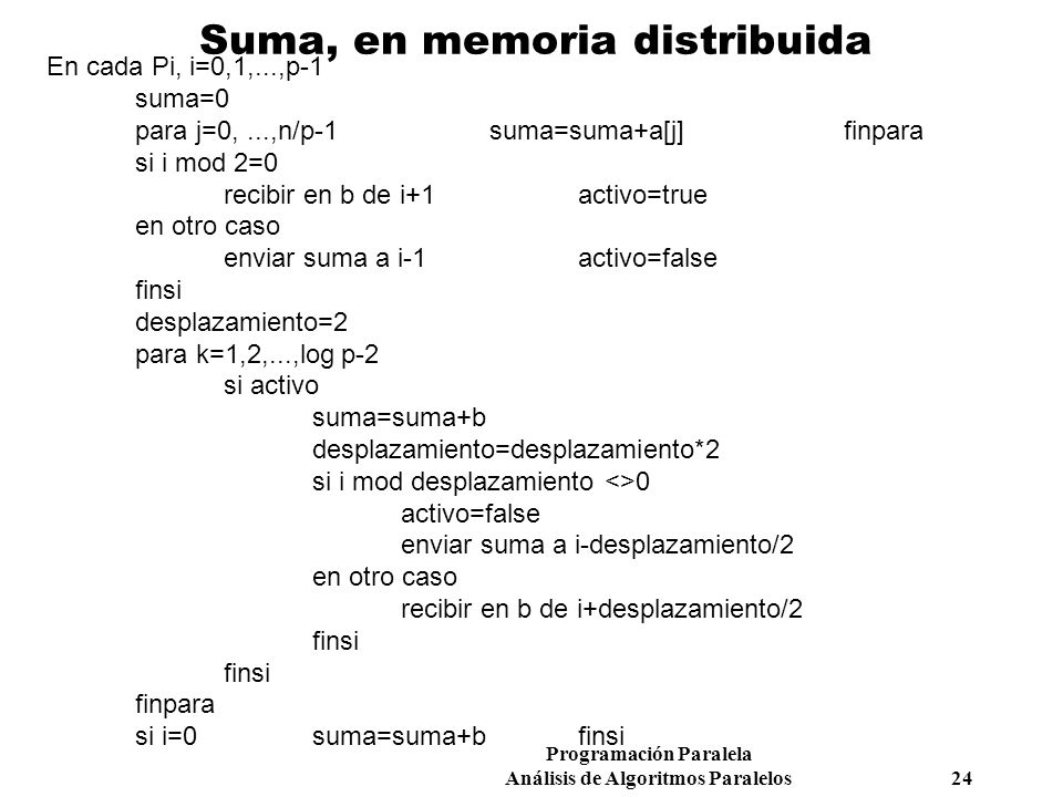 Suma, en memoria distribuida