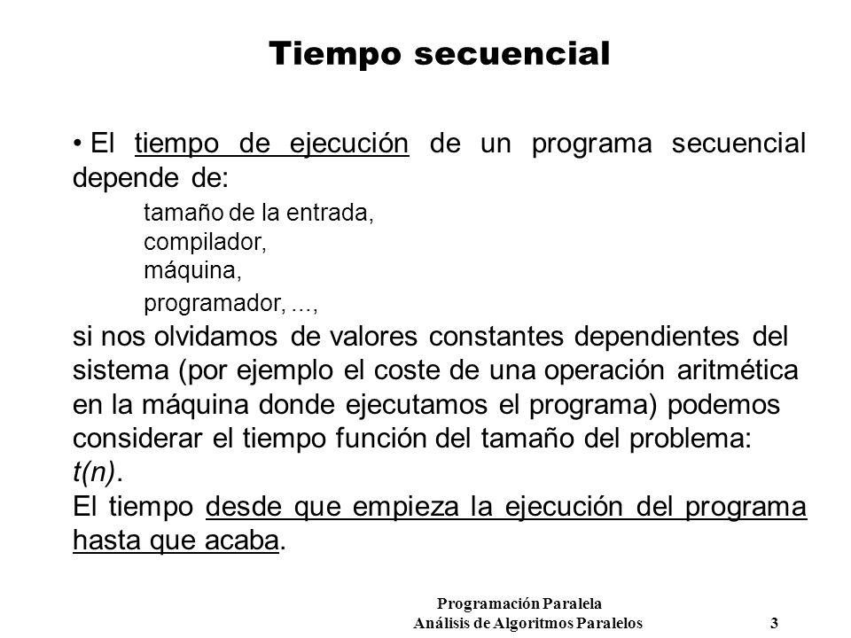 Tiempo secuencial El tiempo de ejecución de un programa secuencial depende de: tamaño de la entrada,