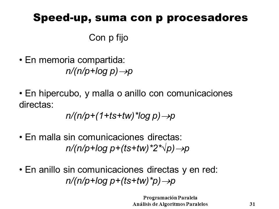 Speed-up, suma con p procesadores