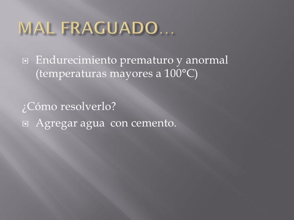 MAL FRAGUADO… Endurecimiento prematuro y anormal (temperaturas mayores a 100°C) ¿Cómo resolverlo