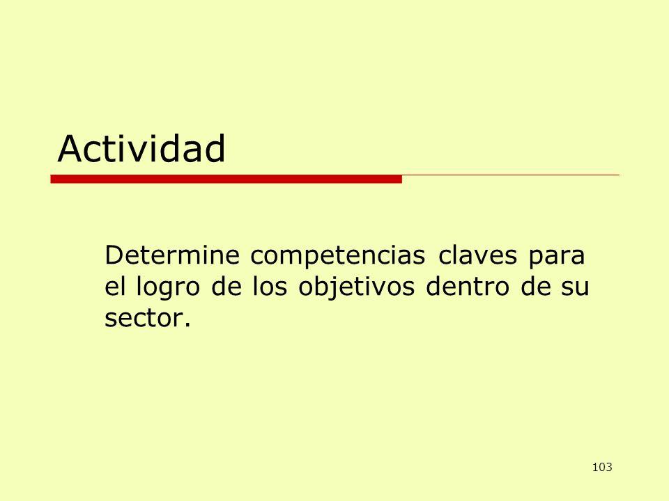 Actividad Determine competencias claves para el logro de los objetivos dentro de su sector.