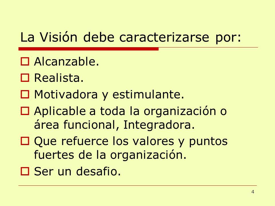 La Visión debe caracterizarse por: