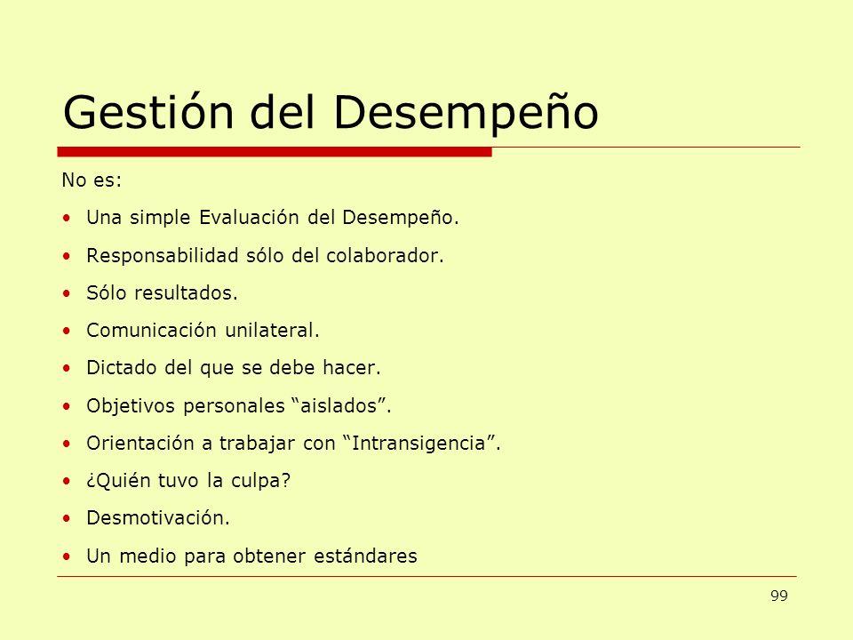 Gestión del Desempeño No es: Una simple Evaluación del Desempeño.