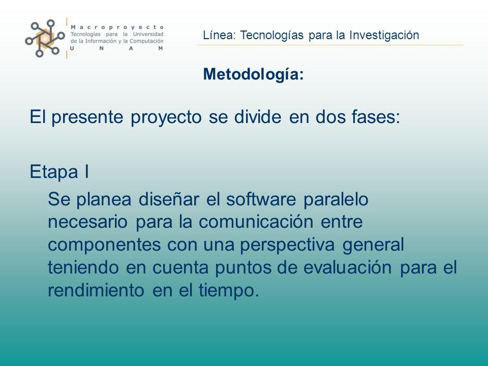 El presente proyecto se divide en dos fases: Etapa I