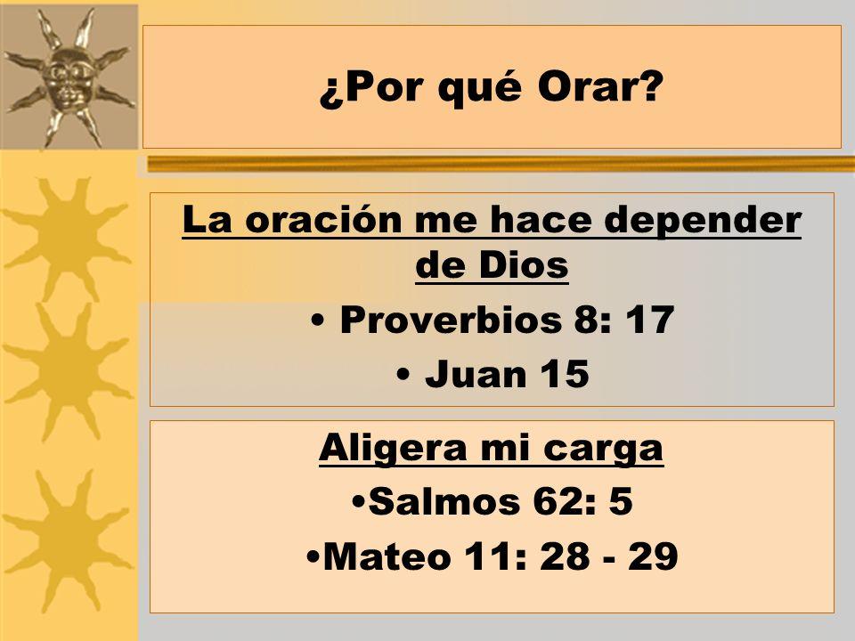 La oración me hace depender de Dios Proverbios 8: 17 Juan 15