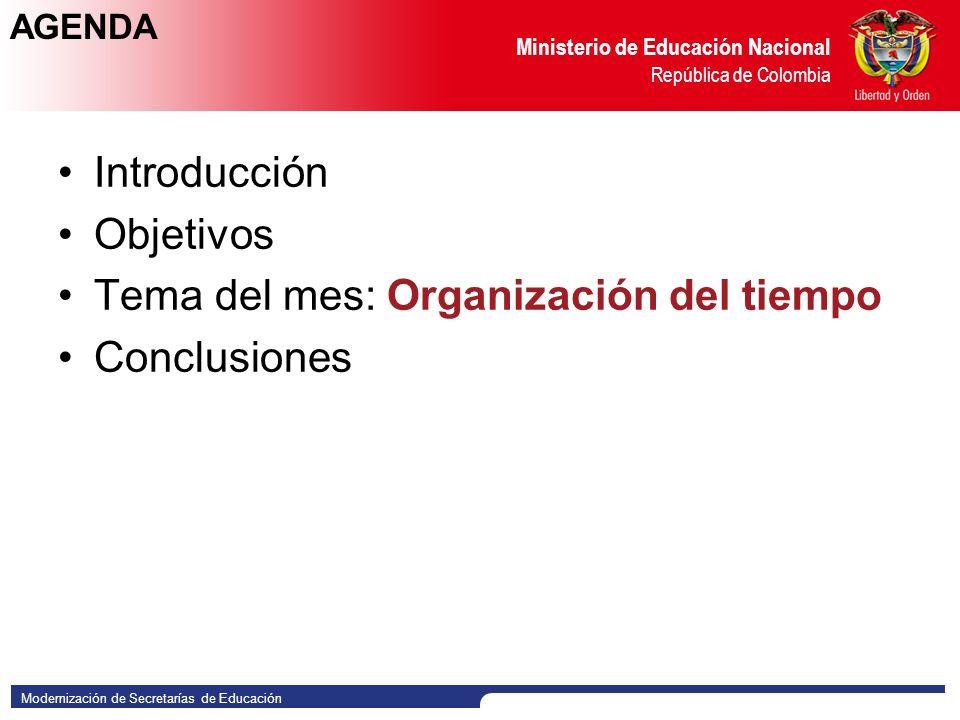 Tema del mes: Organización del tiempo Conclusiones