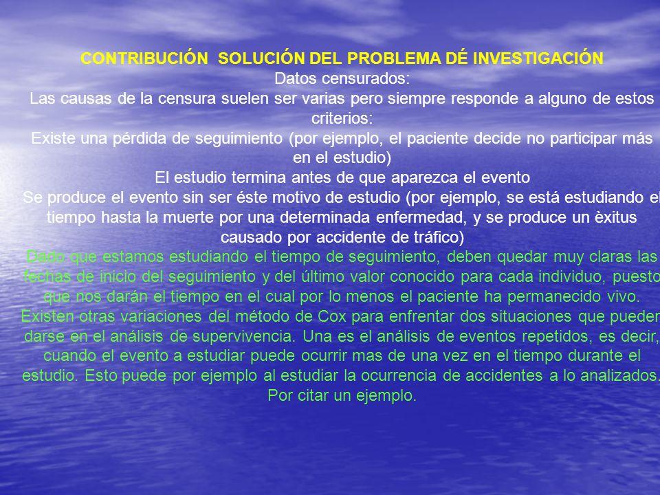 CONTRIBUCIÓN SOLUCIÓN DEL PROBLEMA DÉ INVESTIGACIÓN Datos censurados: