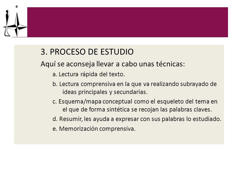 3. PROCESO DE ESTUDIO Aquí se aconseja llevar a cabo unas técnicas: