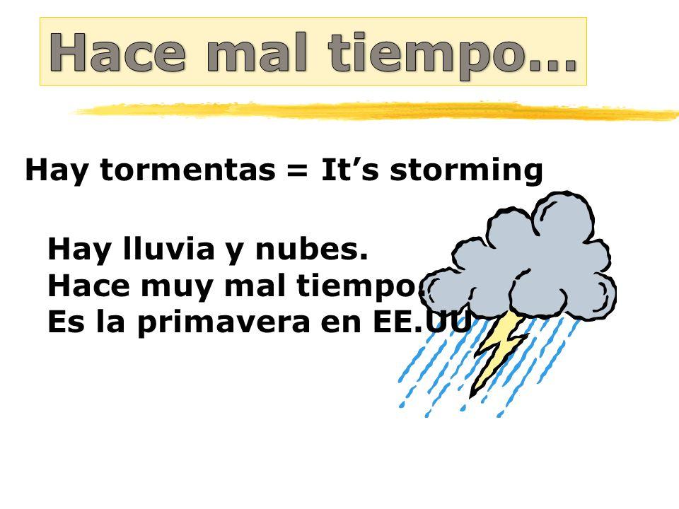 Hace mal tiempo… Hay tormentas = It's storming Hay lluvia y nubes.