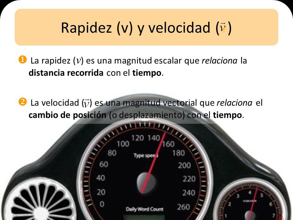 Rapidez (v) y velocidad (v)