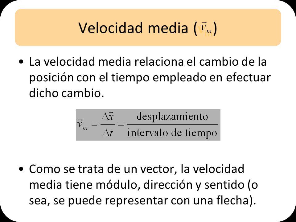Velocidad media (vm) La velocidad media relaciona el cambio de la posición con el tiempo empleado en efectuar dicho cambio.