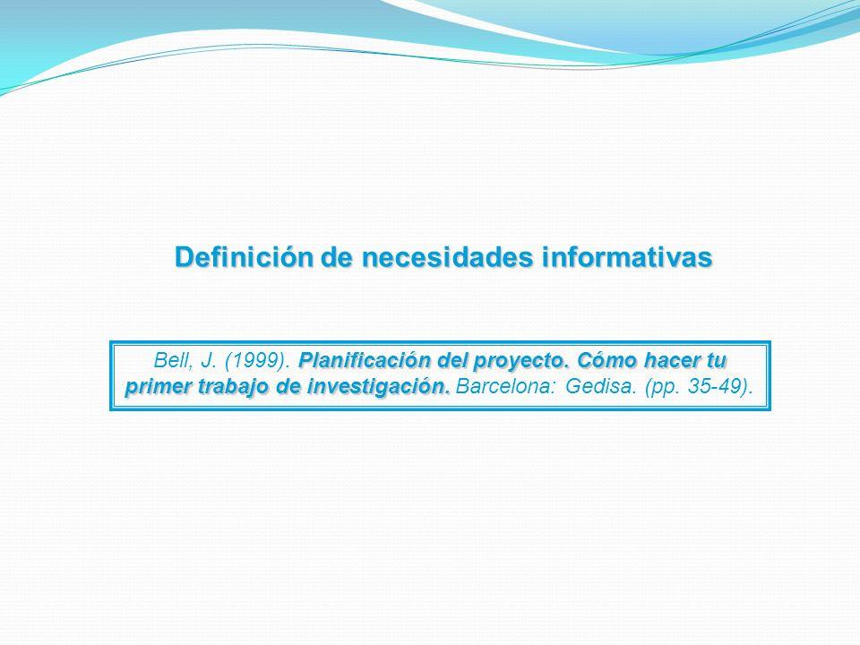 Definición de necesidades informativas