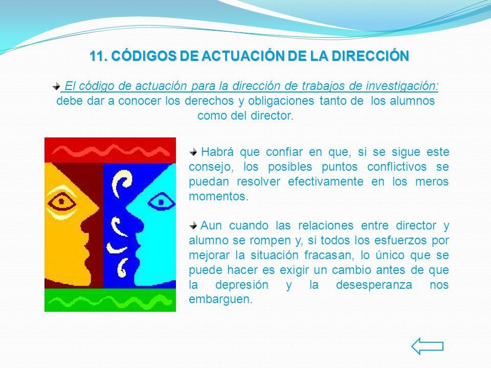 11. CÓDIGOS DE ACTUACIÓN DE LA DIRECCIÓN