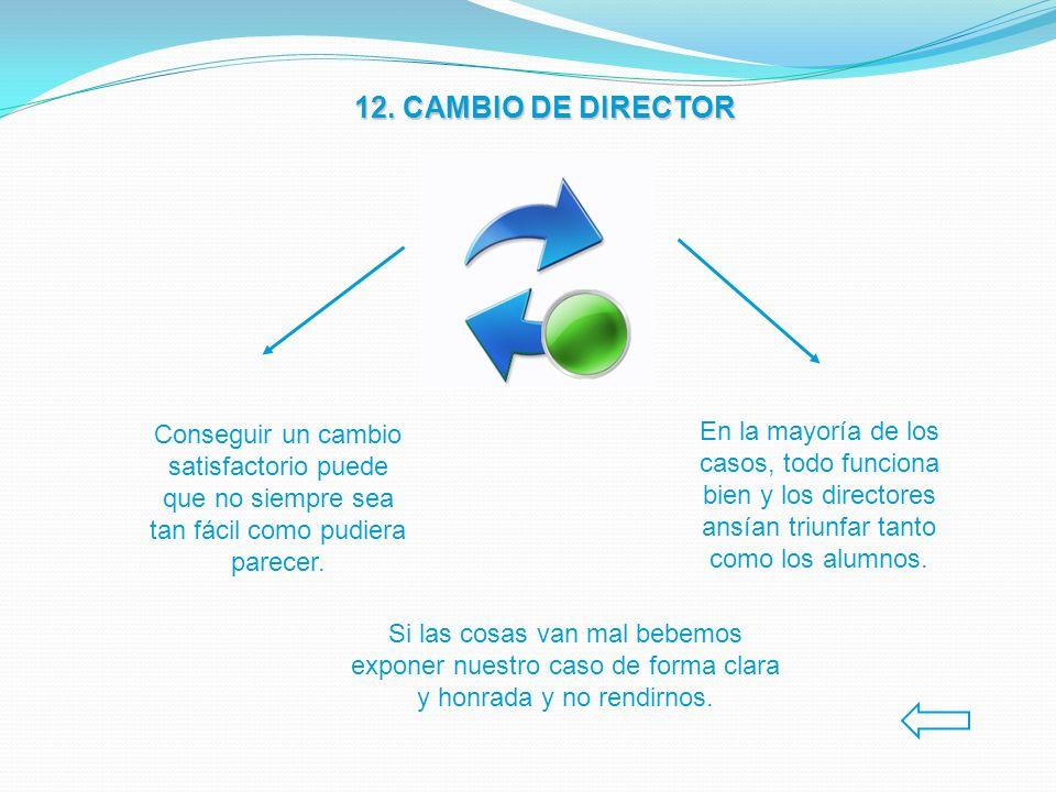 12. CAMBIO DE DIRECTOR Conseguir un cambio satisfactorio puede que no siempre sea tan fácil como pudiera parecer.