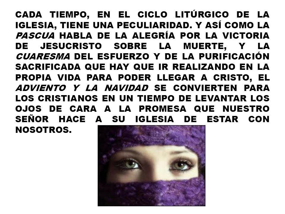 CADA TIEMPO, EN EL CICLO LITÚRGICO DE LA IGLESIA, TIENE UNA PECULIARIDAD.