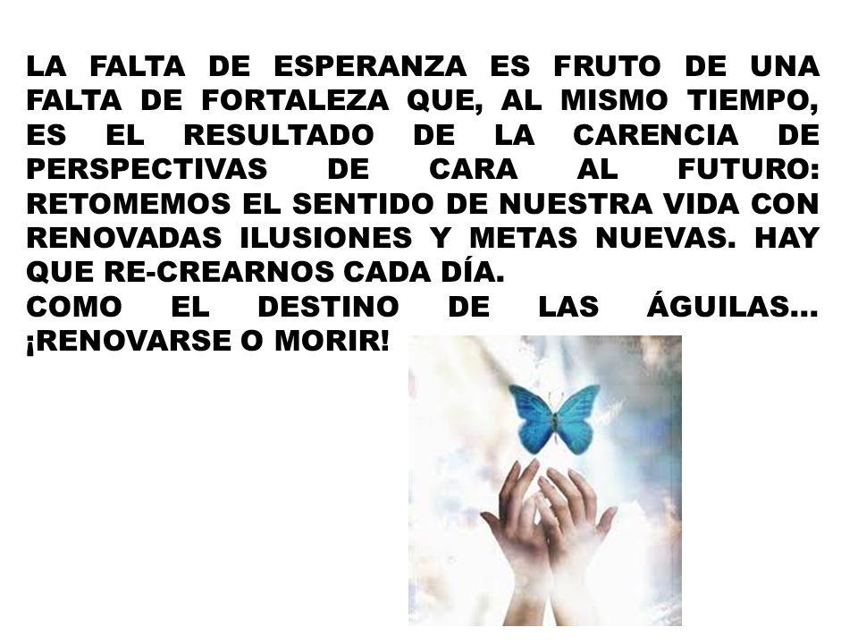 LA FALTA DE ESPERANZA ES FRUTO DE UNA FALTA DE FORTALEZA QUE, AL MISMO TIEMPO, ES EL RESULTADO DE LA CARENCIA DE PERSPECTIVAS DE CARA AL FUTURO: RETOMEMOS EL SENTIDO DE NUESTRA VIDA CON RENOVADAS ILUSIONES Y METAS NUEVAS. HAY QUE RE-CREARNOS CADA DÍA.