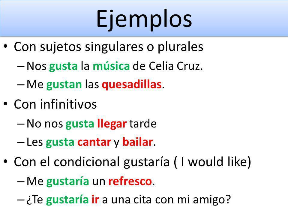 Ejemplos Con sujetos singulares o plurales Con infinitivos