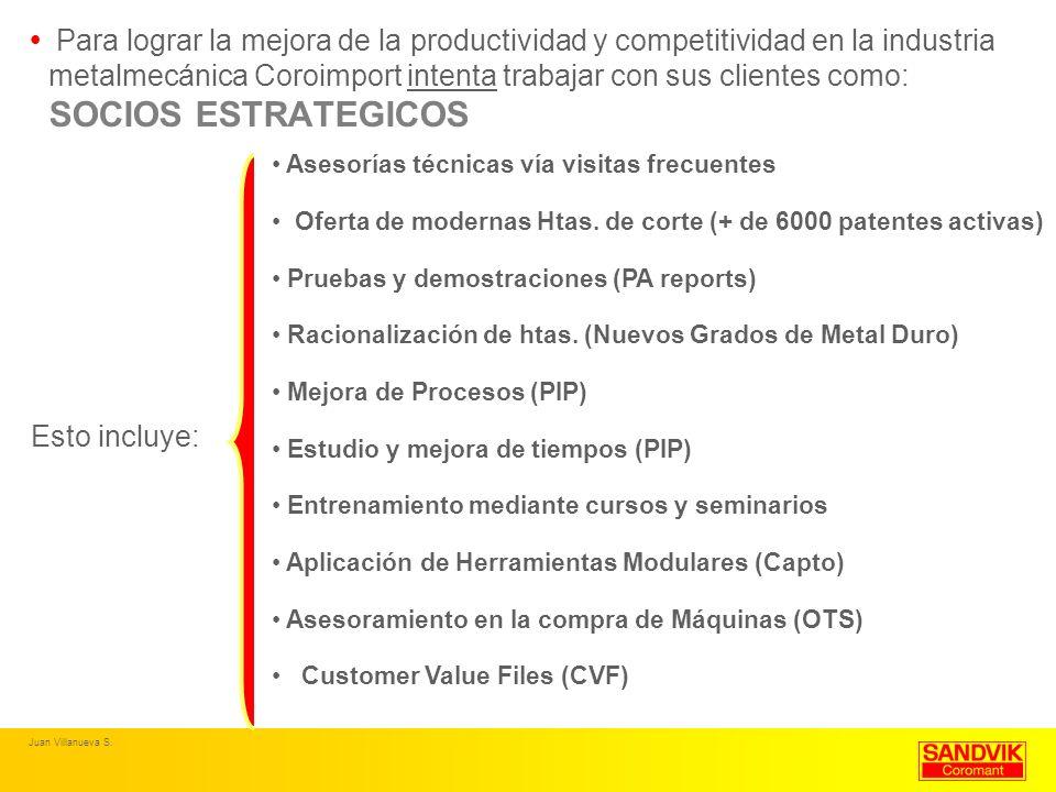 Para lograr la mejora de la productividad y competitividad en la industria metalmecánica Coroimport intenta trabajar con sus clientes como: SOCIOS ESTRATEGICOS