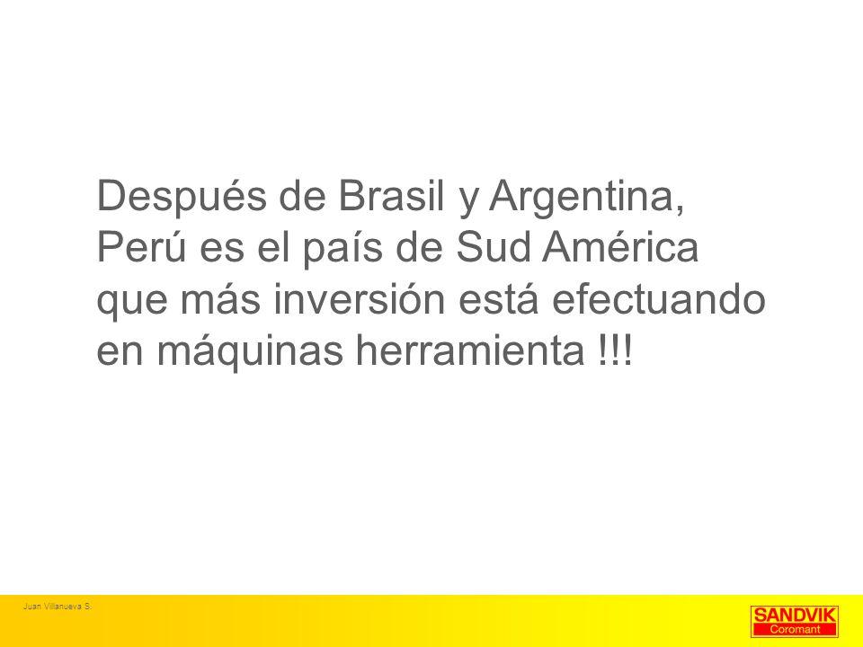 Después de Brasil y Argentina, Perú es el país de Sud América que más inversión está efectuando en máquinas herramienta !!!