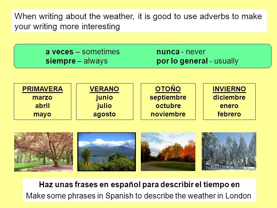 Haz unas frases en español para describir el tiempo en Londres