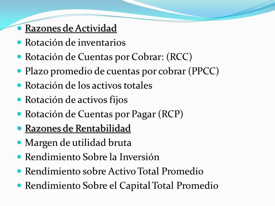 Razones de Actividad Rotación de inventarios. Rotación de Cuentas por Cobrar: (RCC) Plazo promedio de cuentas por cobrar (PPCC)