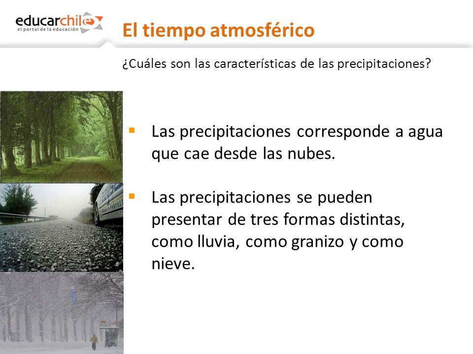 El tiempo atmosférico ¿Cuáles son las características de las precipitaciones Las precipitaciones corresponde a agua que cae desde las nubes.