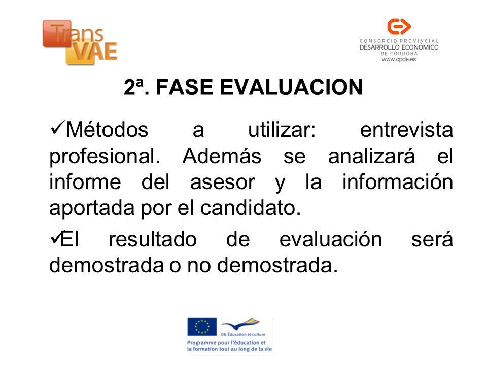 2ª. FASE EVALUACION Métodos a utilizar: entrevista profesional. Además se analizará el informe del asesor y la información aportada por el candidato.