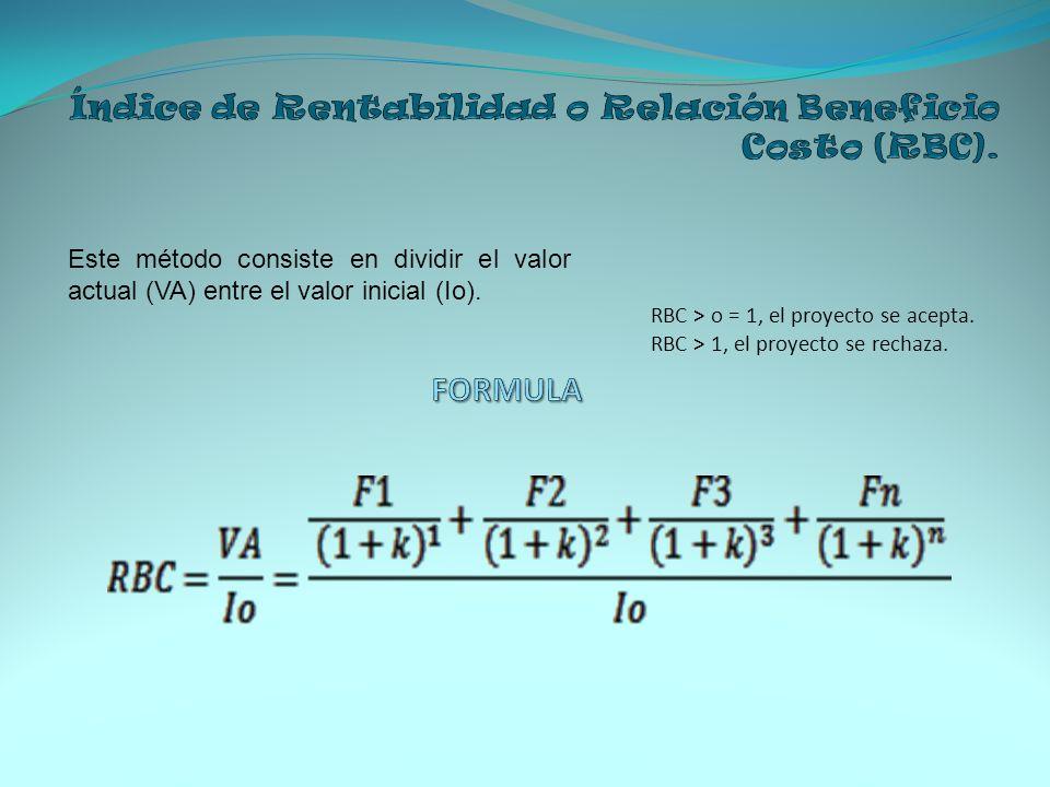 Índice de Rentabilidad o Relación Beneficio Costo (RBC).