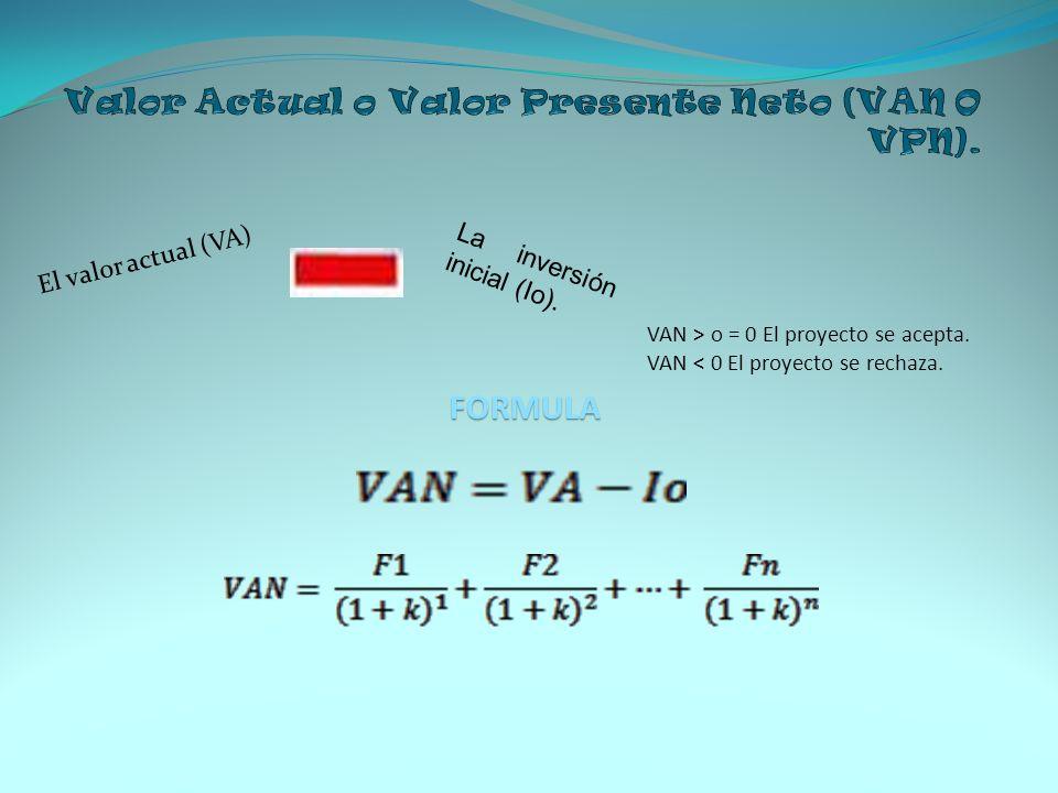 Valor Actual o Valor Presente Neto (VAN O VPN).