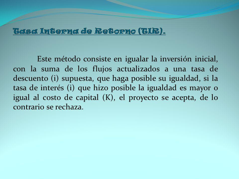 Tasa Interna de Retorno (TIR).