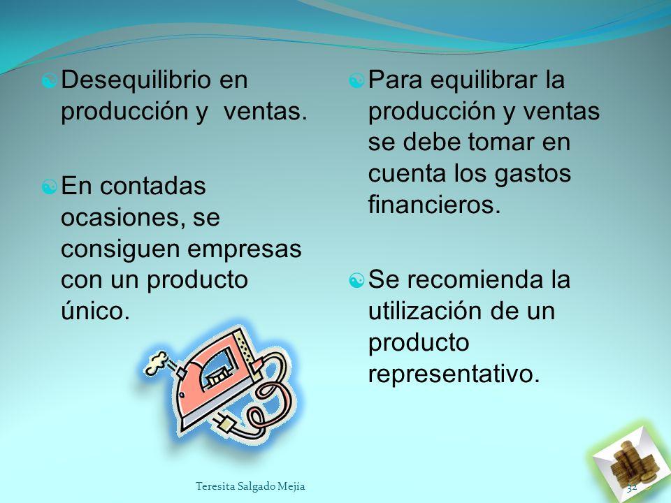 Desequilibrio en producción y ventas.