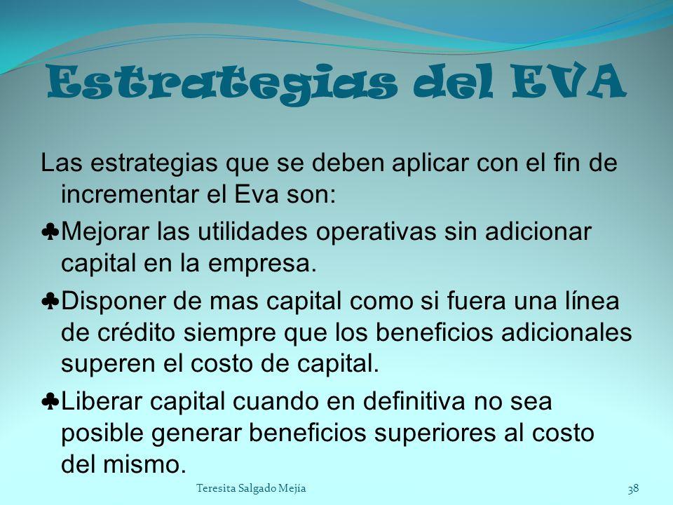 Estrategias del EVA Las estrategias que se deben aplicar con el fin de incrementar el Eva son: