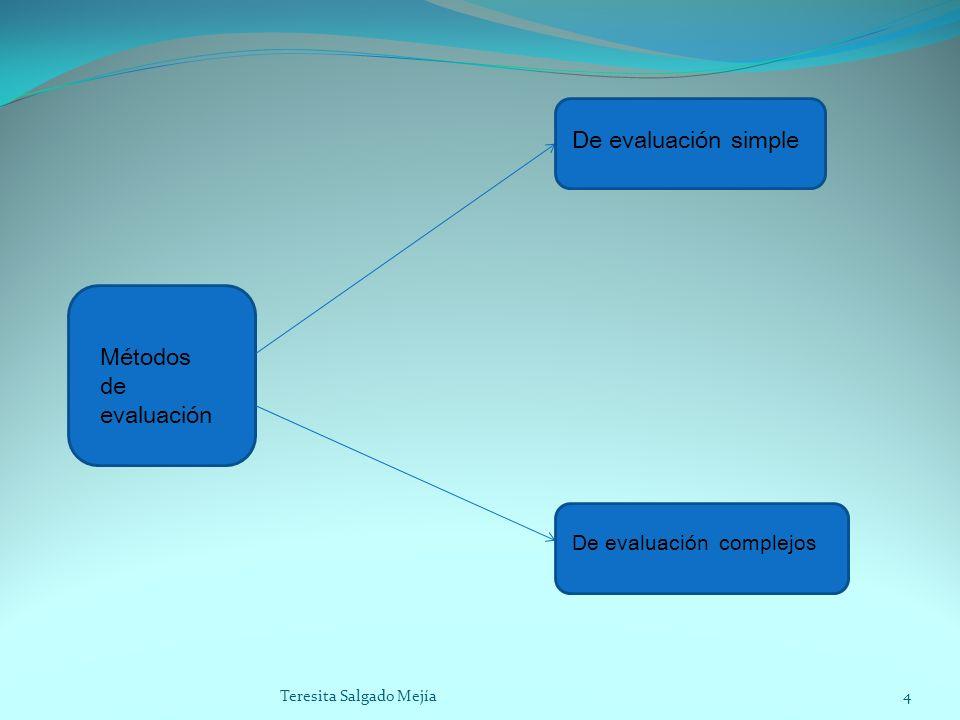 De evaluación simple Métodos de evaluación De evaluación complejos