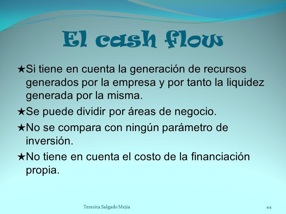 El cash flow Si tiene en cuenta la generación de recursos generados por la empresa y por tanto la liquidez generada por la misma.