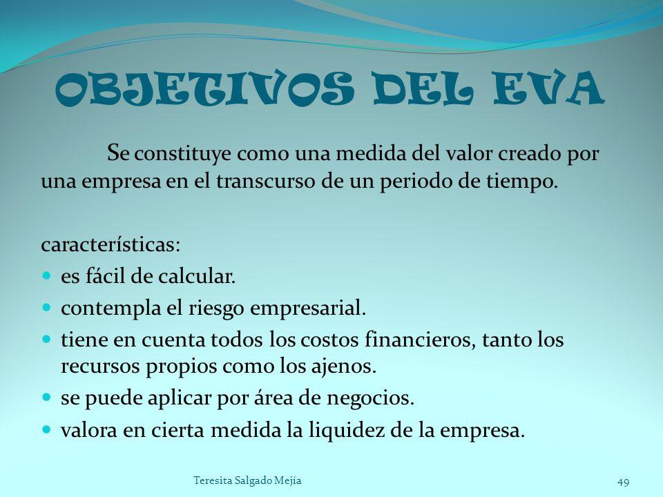 OBJETIVOS DEL EVA Se constituye como una medida del valor creado por una empresa en el transcurso de un periodo de tiempo.