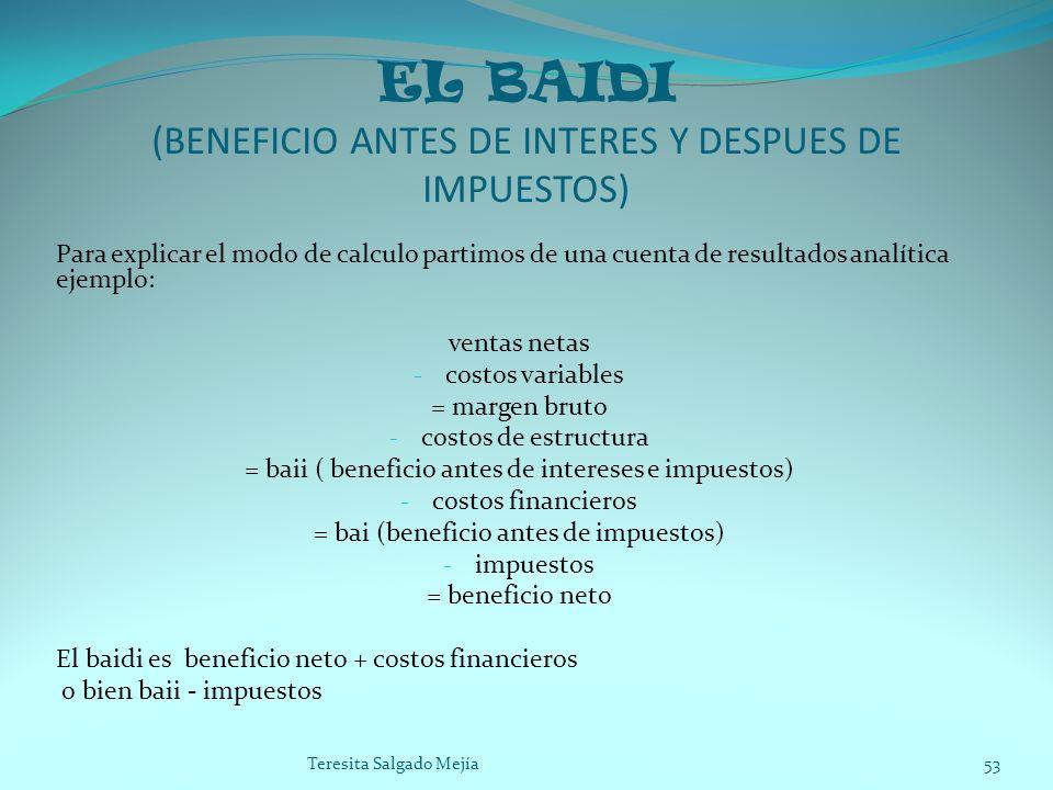 EL BAIDI (BENEFICIO ANTES DE INTERES Y DESPUES DE IMPUESTOS)