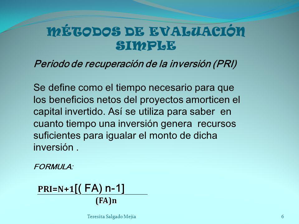 MÉTODOS DE EVALUACIÓN SIMPLE