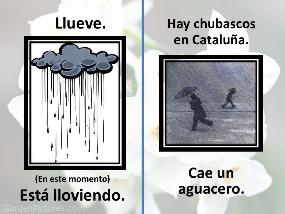 Llueve. Está lloviendo. Cae un aguacero. Hay chubascos en Cataluña.