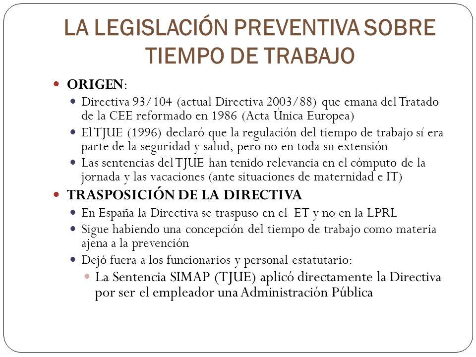 LA LEGISLACIÓN PREVENTIVA SOBRE TIEMPO DE TRABAJO