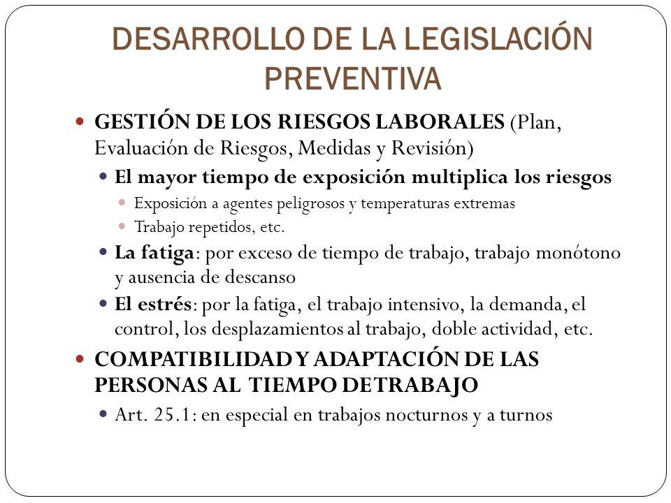 DESARROLLO DE LA LEGISLACIÓN PREVENTIVA