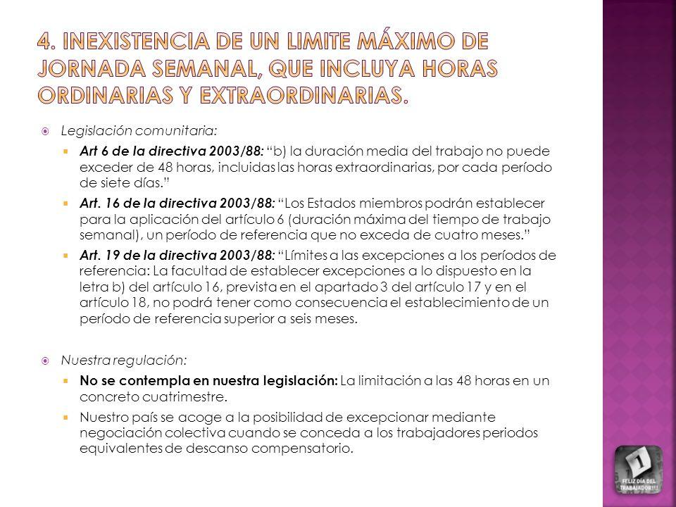 4. inexistencia DE UN LIMITE MÁXIMO DE JORNADA SEMANAL, QUE INCLUYA HORAS ORDINARIAS Y EXTRAORDINARIAS.
