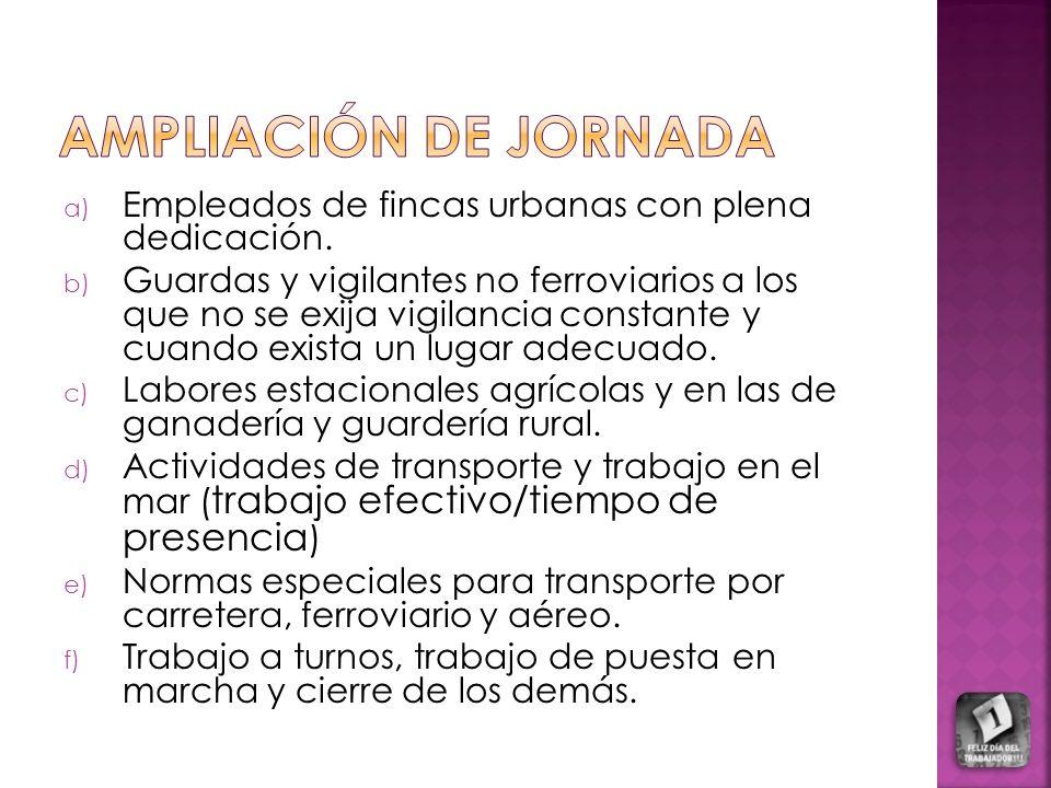 AMPLIACIÓN DE JORNADA Empleados de fincas urbanas con plena dedicación.