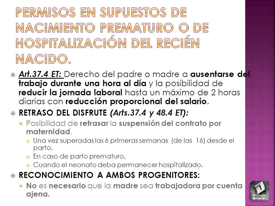 PERMISOS EN SUPUESTOS DE NACIMIENTO PREMATURO O DE HOSPITALIZACIÓN DEL RECIÉN NACIDO.