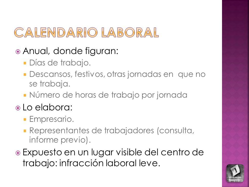 CALENDARIO LABORAL Anual, donde figuran: Lo elabora: