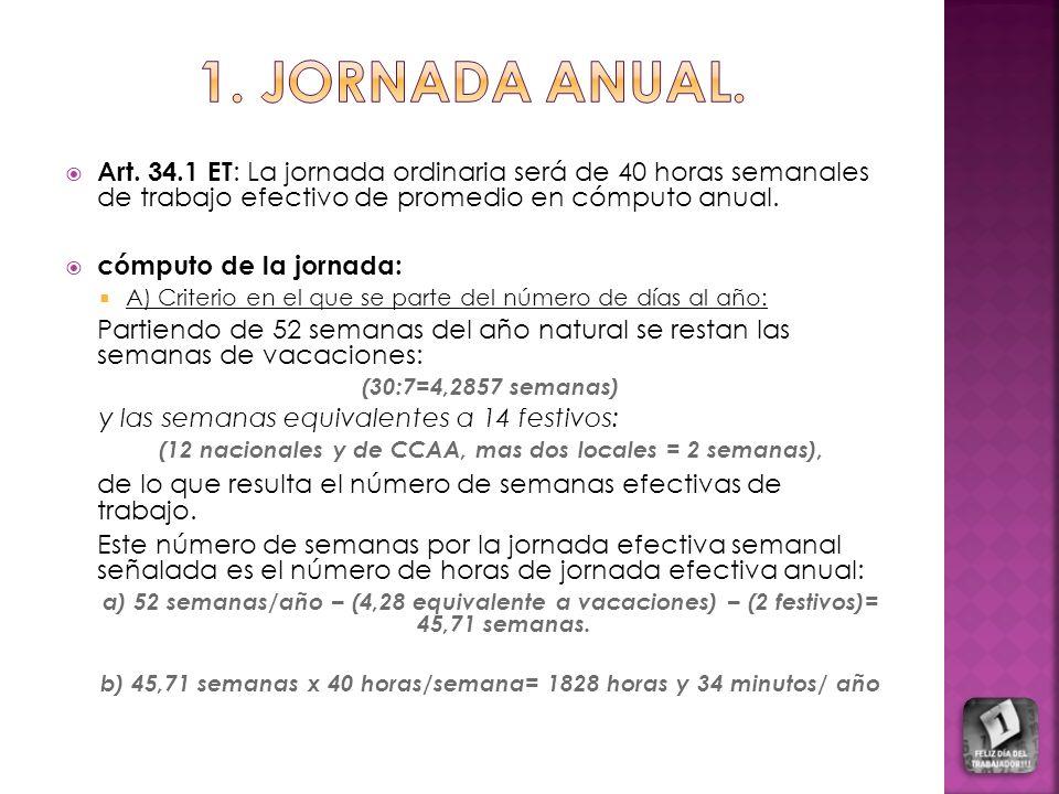 1. JORNADA ANUAL. Art. 34.1 ET: La jornada ordinaria será de 40 horas semanales de trabajo efectivo de promedio en cómputo anual.